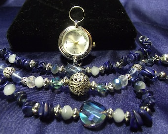 Woman's Quartz Watch with 3 Beaded Bands **Lapis** B100- B104