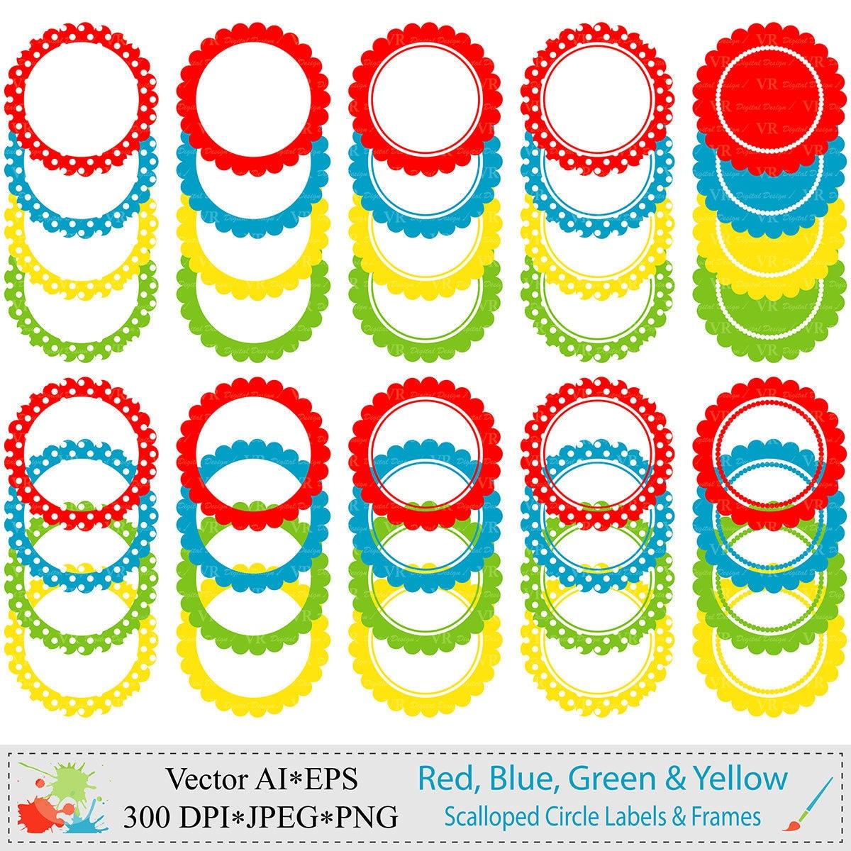 Scalloped Kreis Etiketten und Rahmen ClipArt digitale
