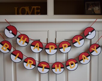 Pokemon Inspired Birthday Banner, Pokemon Banner, Pokemon Birthday, Pokemon Party, Pokemon Decoration, Pokemon Decor, Pokemon Ball, Custom