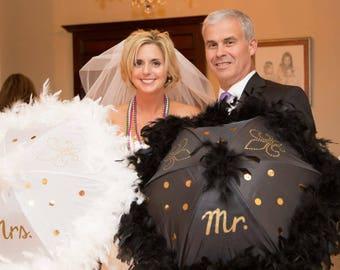 "Wedding Umbrellas Second Line Mr. Mrs. bride - set of 2 umbrellas- MEDIUM 19"" size- hand painted lettering, fleur de lis, sequins feather"