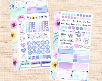 Watercolor Flower PERSONAL Kit (matte planner sticker, Filofax, Kikki K, Websters Pages, Color Crush)