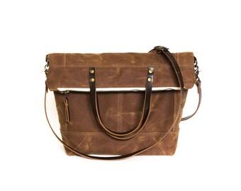 Waxed Canvas Cross-Body Handbag, Foldover Crossbody Bag, Wax Canvas Foldover Bag, Cross Body Bag, Brown Waxed Canvas, Leather Crossbody
