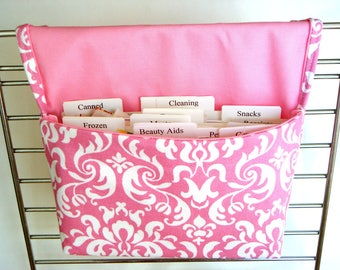 40% OFF Coupon Organizer /Budget Organizer Holder-  Attaches to Your Shopping Cart -Dandy Damask -Pink And White Decor Fabric
