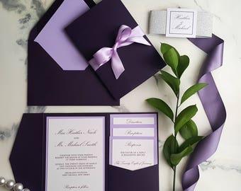 Plum Violet Wedding Invitations / Plum Invitations / Plum Pocket Fold Invites / Purple Invitations / Egg Plant Invites / Lilac Invitations