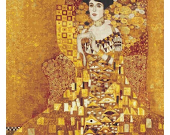 Woman Cross Stitch Chart, Portrait of Adele Bloch Bauer Cross Stitch Pattern PDF, Art Cross Stitch, Gustav Klimt, Abstract Embroidery Chart