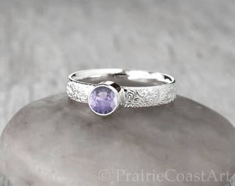 Silver Alexandrite Ring - Sterling Silver - Handcrafted Alexandrite Ring -  June Birthstone Ring