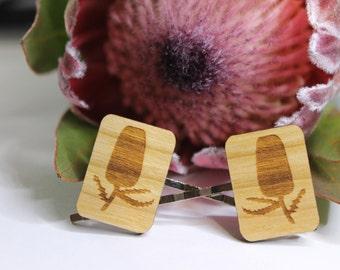Flower Bobby Pins-Hair Bobby Pins-Wood Bobby Pins-Hair Accessory-Hair Pins-Australian Wildflower-Banksia-Wood Hairclip