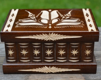 Wooden jewelry box, Earring holder, Mystery box, Puzzle box, Secret Compartment Box, Jewelry holder, Carved wooden box Magic box Enigma box