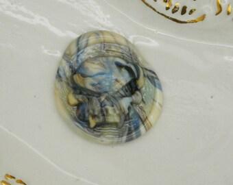 Marbre Ivoire tourbillon crâne Murano Cabochon cabochon verre à la main Art