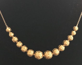 Victorian Etruscan Revival Gold Ball Necklace