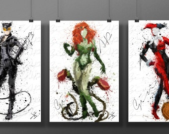 Sirens of Batman Print Bundle | Digital Watercolor Poster | Kids Nursery Nerd Birthday Gift | Catwoman Poison Ivy Harley Quinn Etc. Bundle
