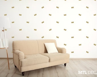 50 X Crown Wall Decals / Basquiat Crown Wall Stickers / Wall Pattern / Home Decor / Art