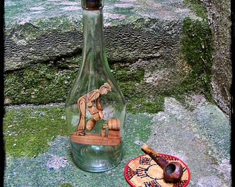 folk art, French, vintage, wooden figure in bottle, folk art bottle, French vintage,