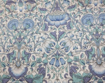 LIBERTY Of LONDON Tana Lawn Cotton Fabric  'Lodden' E Blue/Lavender William Morris Lg Fat Quarter 18X26 in