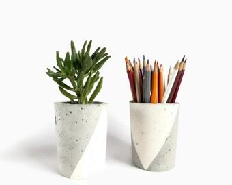 Set of 2 Concrete Gray Pencil Holder Succulent Planter Home Decor Minimalist Simple Design
