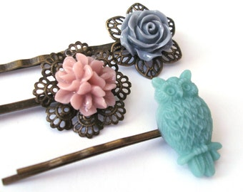 Owl Bobby Pin Set in Teal, Gray and Pink, Flower Bobby Pins, Blue Owl, Teal Owl, Pink Flower, Gray Rose