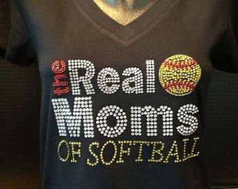 Moms of Softball Rhinestone Shirt