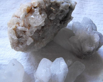 Raw Quartz Crystals, Crystal Points And Clusters Lot