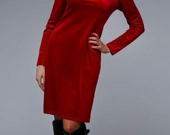 Red Velvet Dress / Fashion Dress / Red Kaftan / Elegant Dress / Casual Dress / Maxi Velvet Dress / Plus Size Dress / by UMAY