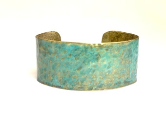Cypress: A hammered brass cuff with a pale green patina