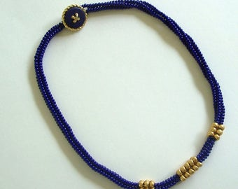 Royal Blue and Gold Herringbone Bead Woven Choker Necklace with Gold Accents by Carol Wilson of Je t'adorn