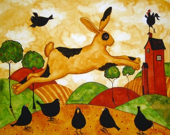 Farmhouse Hubbs Children Art Folk Print Whimsical Birds Crows Bunny Rabbit Farm