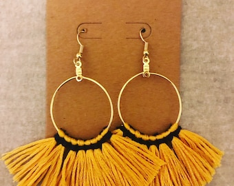 "The Windsor; Gold and Navy Blue Fringe Hoop Earrings; 2.25""; Ultra Lightweight!"