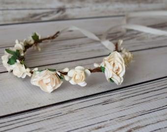Hand Crafted Cream Flower Crown - Cream Flower Girl - Cream Flower Halo - Creme Accessory - Renaissance Flower Crown - Medieval Flower Crown