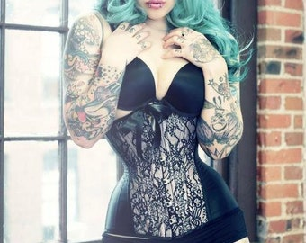 Custom Colour READY TO WEAR- size 18 to 26 inch Black lace overlay underbust corset