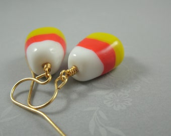 Fancy Candy Corn Earrings (Gold)
