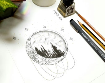 A5 Midnight in Yosemite Bohemian Dotwork Moon and Landscape Drawing Art Print