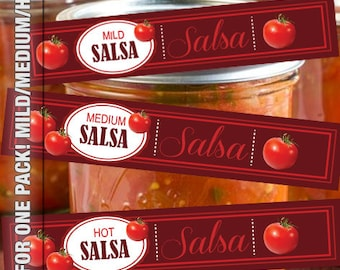 Paper Craft Digital Sheet Mason Jar Canning Label Instant Download SALSA Mild Medium and Hot wrap around labels for canning jars