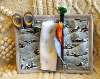 Asian Winter Needle Book, Needle Case Hand Sewing Organizer