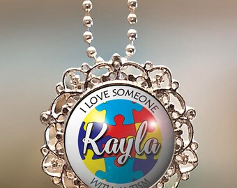 """Autism awareness necklace, """"Name on Puzzle"""" sterling silver plated necklace, autism key pendant, autism necklace, Autism jewelry"""