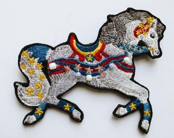 """Embroidered Brooch """"Circus horse"""""""