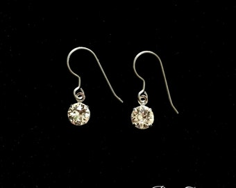 Pure Titanium earrings Hypoallergenic for Sensitive Ears. Genuine Swarovski brilliant diamond cut solitaire crystal earrings for Bride!