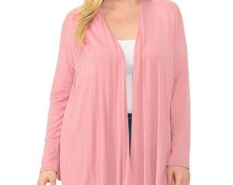 Long Sleeve Jersey Plus Size Cardigan (10+ Colors Available)