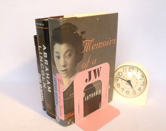 CUSTOM INITIAL BOOKENDS/ Up cycled Pink Metal Bookends