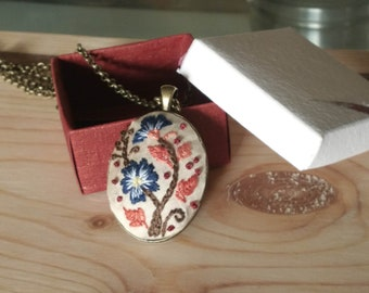vintage floral hand embroidered pendant with chain