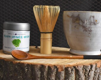 The Essential Zen Out Matcha Set, Shino Chawan tea bowl (handmade in Canada), Matcha gift set