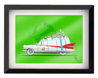 "5""x7"" NYC Ghostbusters Ecto-1 illustration"