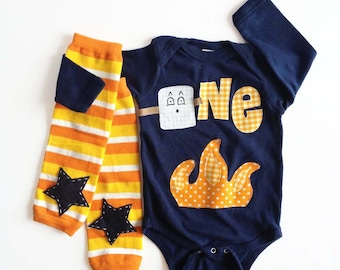 Camping First Birthday One Piece - Smore Marshmallow Campfire Bodysuit with Orange Leg Warmers