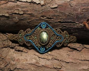 Magical Labradorite Medieval / Steampunk / Alternative Macrame Bracelet
