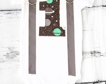 Boy first birthday Solar System themed bow tie & Suspenders First Birthday outer space  Boy Cake Smash Outfit Boy 1st Birthday Universe