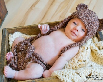 Download PDF crochet pattern - Bear Earflap hat and diaper cover