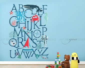Alphabet Wall Decal - Nursery Wall Decal - Nautical Wall Decal - Playroom Wall Decal - Kids Wall Decal - Play Room Wall Decal 01-0052
