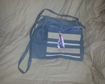 Beautiful bag decorated with lace cotton Jeans