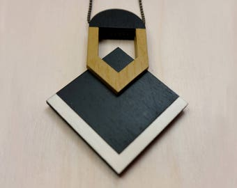 Wooden necklace - Laser cut necklace - Art Deco Necklace