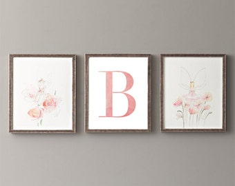 Letter B | Nursery Print | Nursery Art | Alphabet | Instant Download | Digital Print | Wall Art | Baby Girl | Initials | Pink | Watercolor