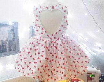 White Heart Print Cutout Dress